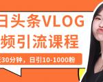 今日头条VLOG视频引流课程:每天30分钟,日引10-1000粉(完结)